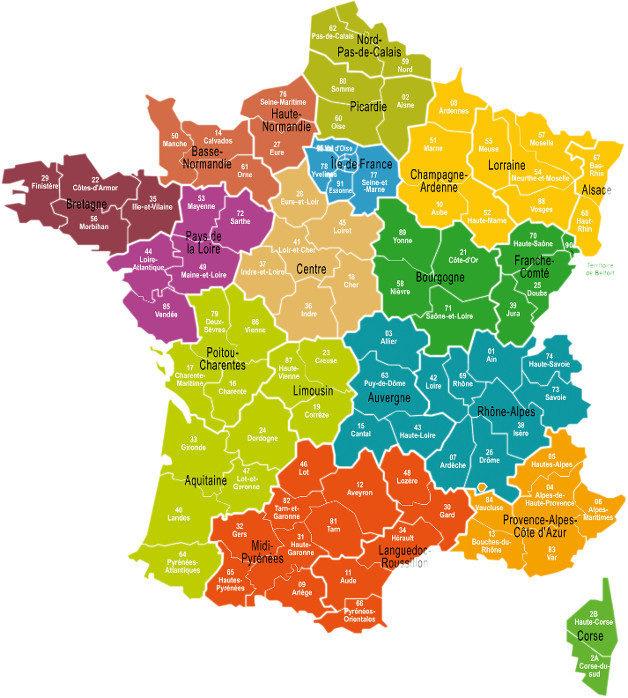 Les Regions De France Fransk Sprog